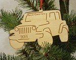 Wooden Jeep Christmas Ornament