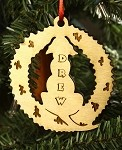 Personalized wood Christmas ornament Dog at Wreath