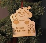 Laser engraved Santa Dog Christmas tree ornament