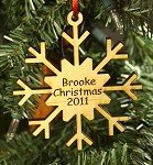 Personalized wood Christmas ornament Snowflake
